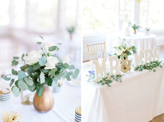 We love the gold and greenery filled centerpices at this stunning Spring wedding!