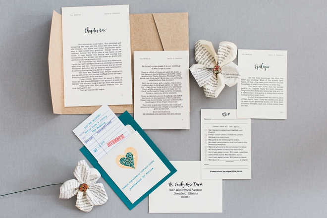 OMG! We are in LOVE with this couple's darling library book themed save the dates!