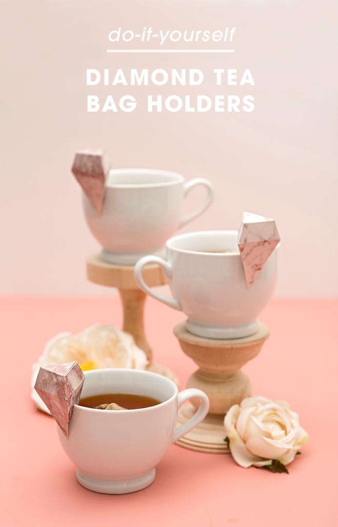 How adorable are these DIY diamond tea bag holders!?