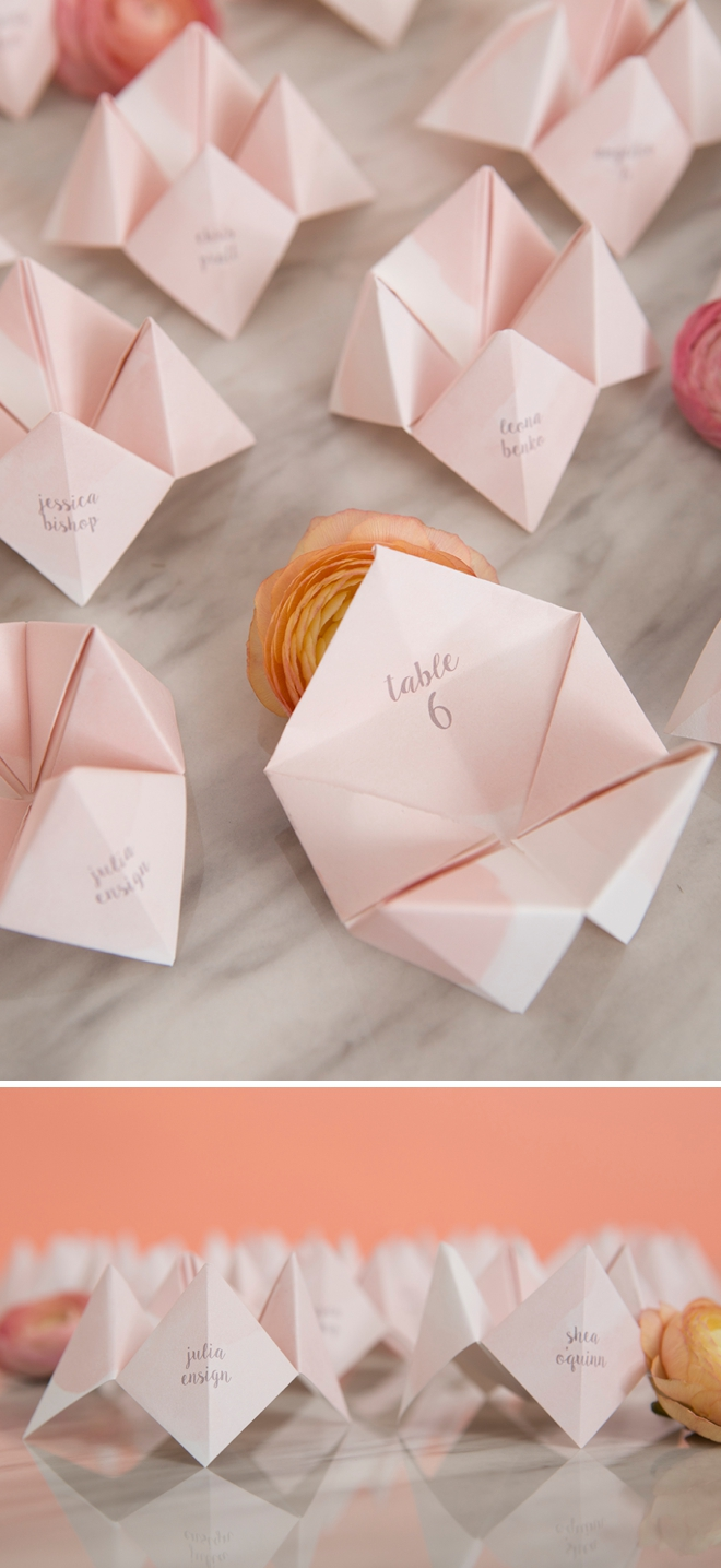 These DIY cootie catcher seating cards are the best thing ever!