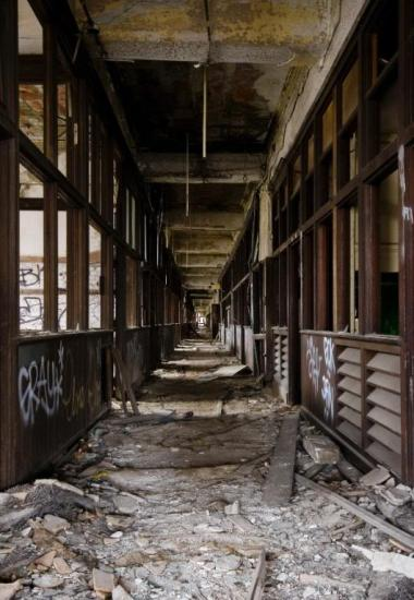 Packard factory hallway