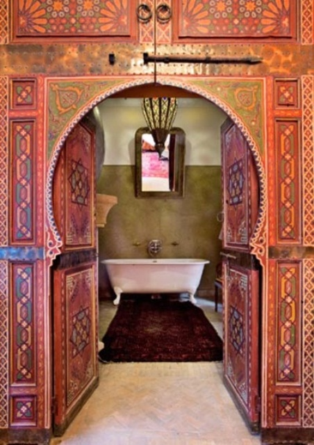 moroccan door for a moroccan style bathroom