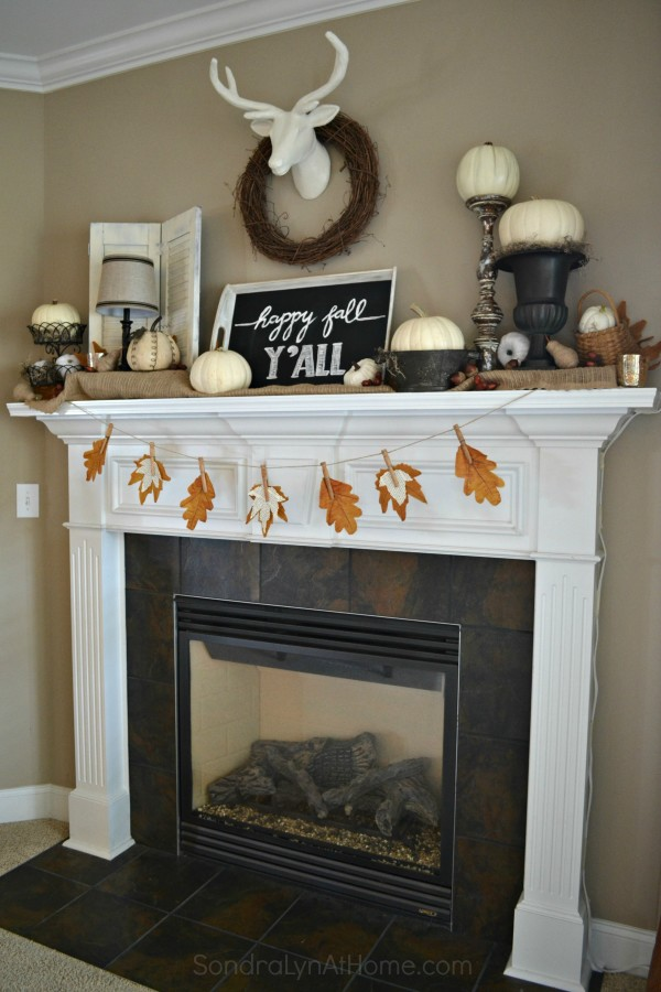 Fall Mantel 2015 -Happy Fall Y'all - Sondra Lyn at Home.com