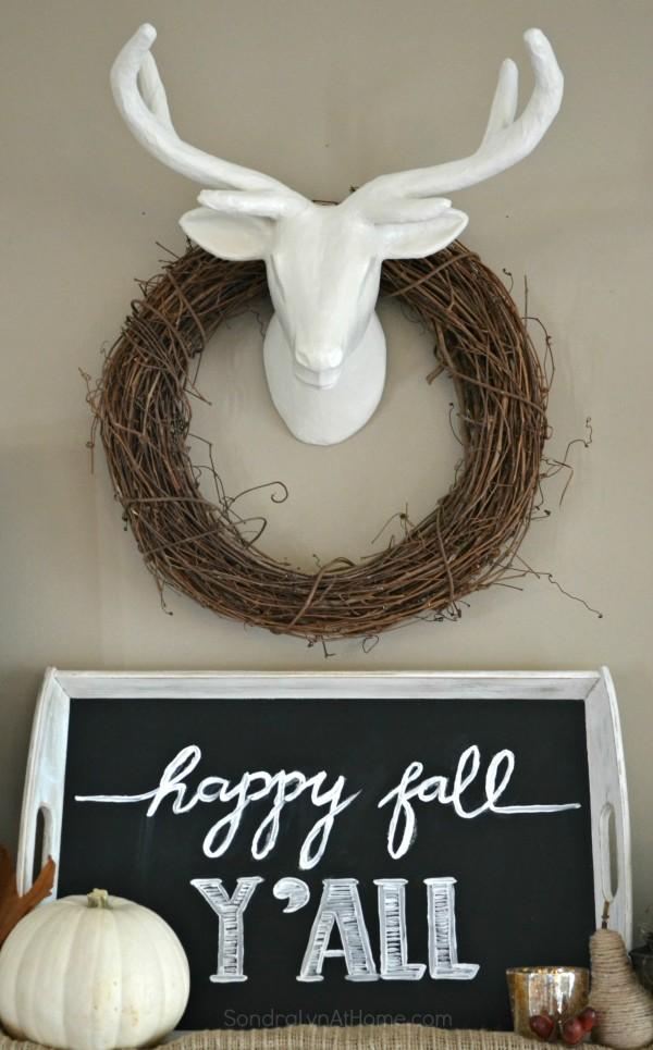 Fall Mantel 2015 - vignette - Sondra Lyn at Home.com