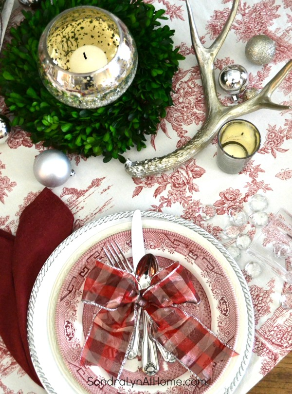 Merry and Toile Tablescape - Place Setting with Churchill Willow Rosa china - Boxwood and Silver Antlers - from Sondra Lyn at Home