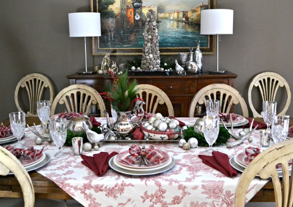 Merry and Toile Tablescape - with Silver Tea Service Centerpiece and Churchill Willow Rosa china - from Sondra Lyn at Home