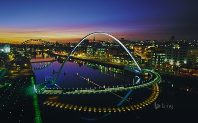 Gateshead Millennium Bridge in Newcastle upon Tyne, England (© Graeme Peacock/Alamy) - Bing ...