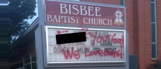 bisbee church gay vandaalized