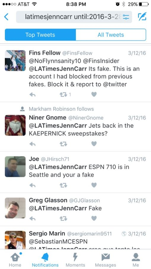 latimesjenncarr fake tweet