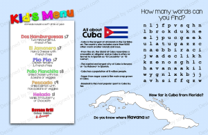 Kid's menu for Cuban concept restaurant