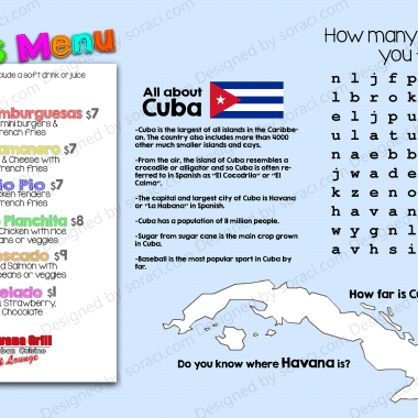 Kids Menu, Cuban Restaurant Concept
