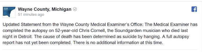 CHRIS CORNELL's Official Cause Of Death: Suicide By Hanging