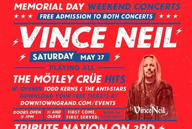 Video: VINCE NEIL Plays Free Concert At Las Vegas's Downtown Grand Hotel & Casino