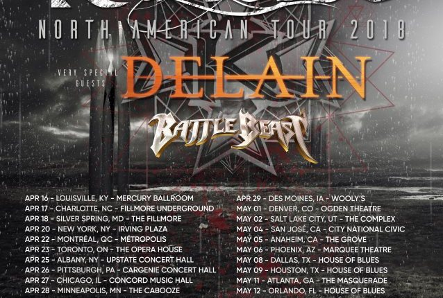 KAMELOT Announces 2018 North American Tour With DELAIN, BATTLE BEAST