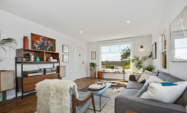Living room with views and open floor plan