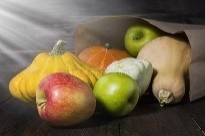 Image of red and green apples and yellow, orange and butternut squashes.
