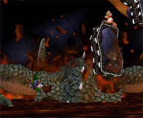 The bottom is lava, but unlike the acid, you won't take damage and go flying back up.