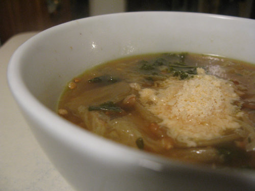 Cabbage and Kale Soup with Farro