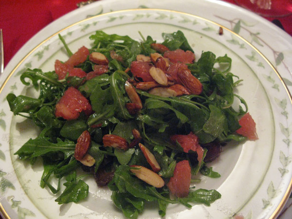 Arugula Salad with Dates, Almonds and Grapefruit