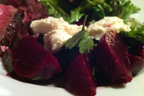 Beet and Goat Cheese Salad with Cilantro and Pickled Onions