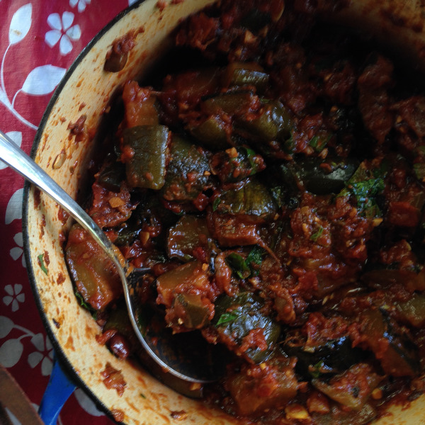 Franny's Stewed Zucchini with Mint, Olives and Tomatoes