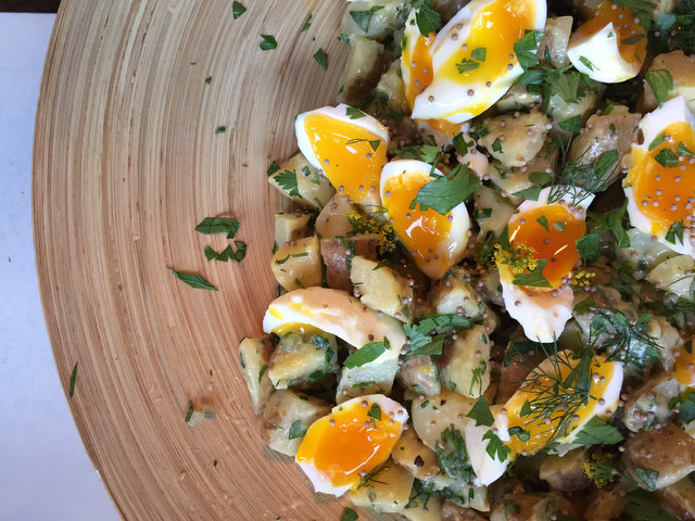 Creamy Mustard Potato Salad with Herbs and Soft Eggs