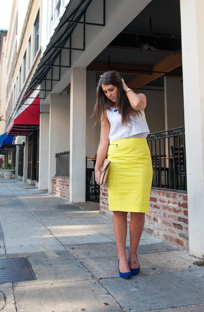 Neon Yellow Pencil Skirt with Eyelet Crop Top | Southern Flair #southernflair