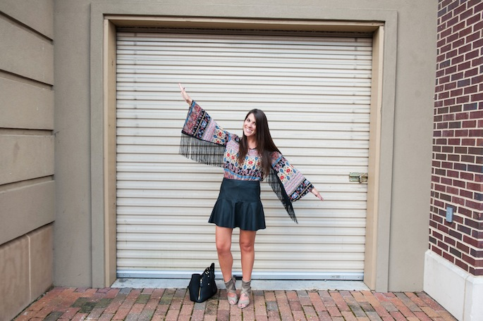 Leather Mini Skirt Fringe Sleeves |Southern Flair