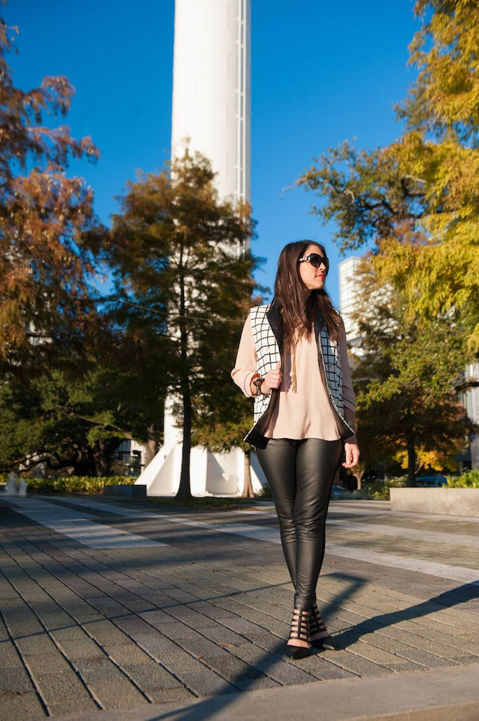Layering with black and white vest