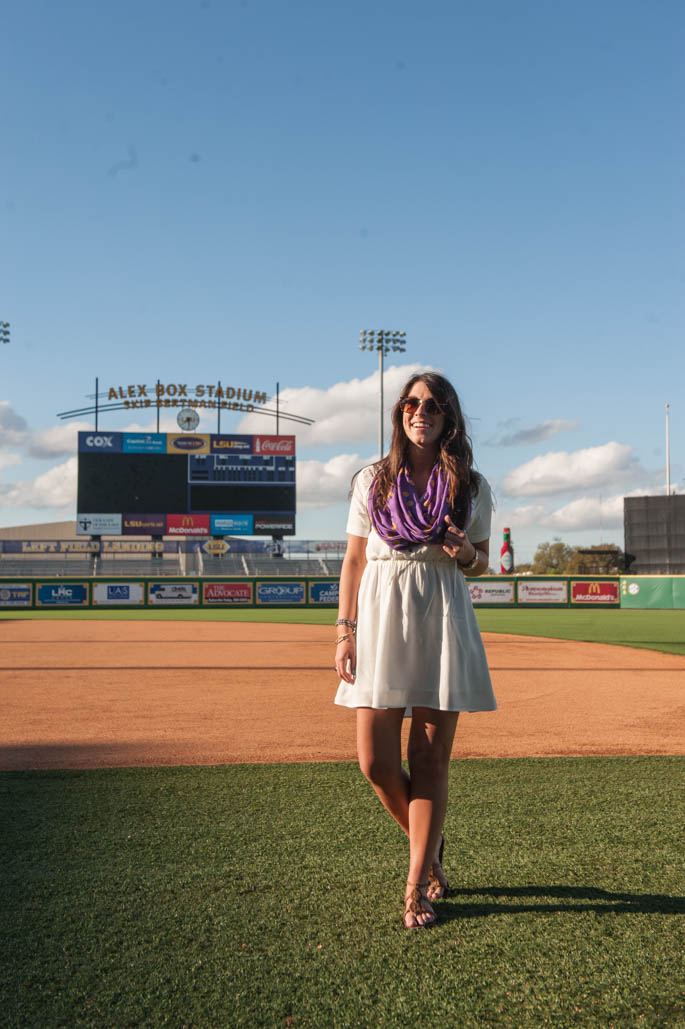 What to Wear to a LSU Baseball Game - Purple and Gold Polka Dot Scarf for Spring
