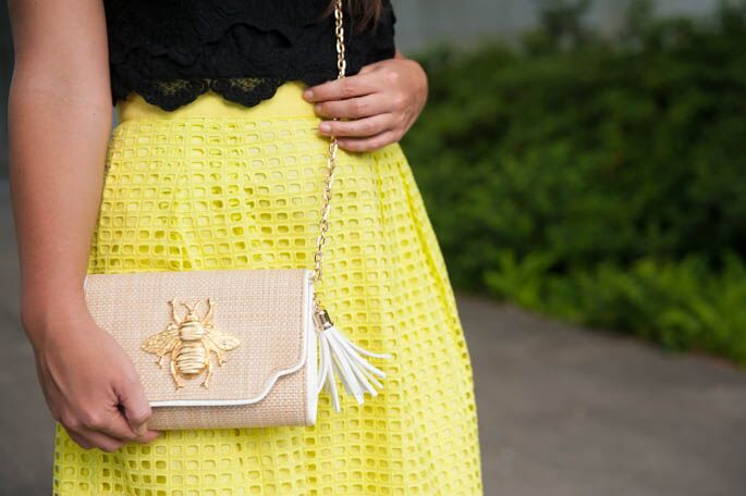 Mixing textures for summer with neon eyelet and black lace