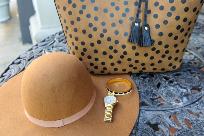 Fall accessories: floppy hat and animal print bag