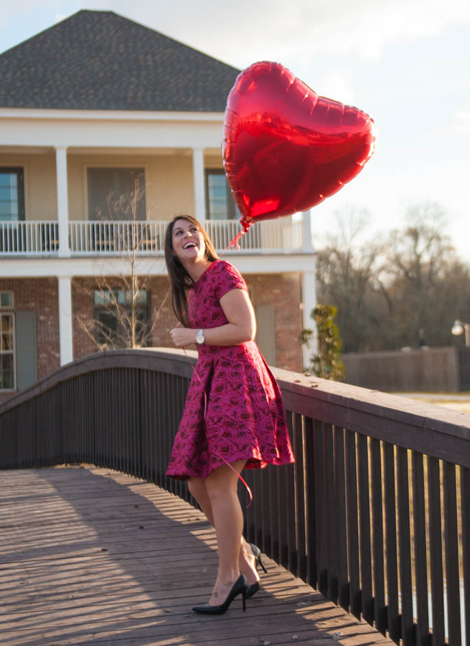 A Southern Flair Valentine in rose floral dress from Nordstrom