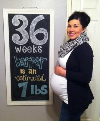 Baby Langston 36 weeks Pregnancy Chalkboard - Southern Made Blog