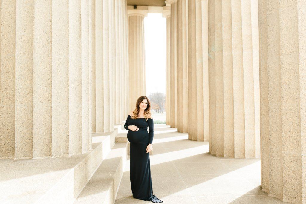 Maternity Pictures with Baby Boy #3 | Southern Made Blog | Navy Emerlie OTS dress | Sew Trendy Accessories