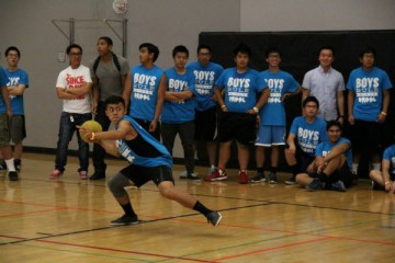 "Junior Chad Cruz from the team ""#winning"" throws a frightful ball towards his opposing team in the championships for the boys on Feb. 26. ""#winning"" triumphed over the girls as they represented the boys in the final dodgeball tournament held on Feb. 27.  ""Dodgeball is always my favorite - it was a good game!"" Cruz said.  Photo Credit: Emily Yu"