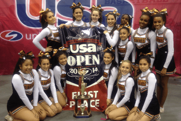 """The Coyote Cheer Club wins first place at the United Spirit Association at the University of Nevada, Las Vegas (UNLV) on Feb. 8. """"The girls on the team are very dedicated and they love to beat the other schools,"""" Coach Sheila Petrosky said.  Photo Credit: Cindi Chang"""