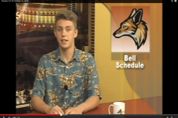 """The broadcast journalism staff usually records their shows during first period. Due to a recording malfunction, Rout(e) 131 aired their first live show today. """"Since we weren't able to record like we normally do, we had to make a decision to do it live. It was our first time,  but we felt it was a success,"""" senior Hannah Tonti said.  Photo Credit: Rout(e) 131"""
