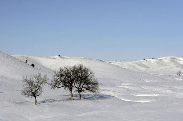 Paisaje nevado de la montaña leonesa