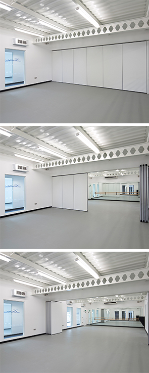 Images showing how a flexible folding office wall installation works