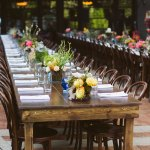 Tables lined up for a Patio Event at Hotel Saint Cecilia Austin Texas