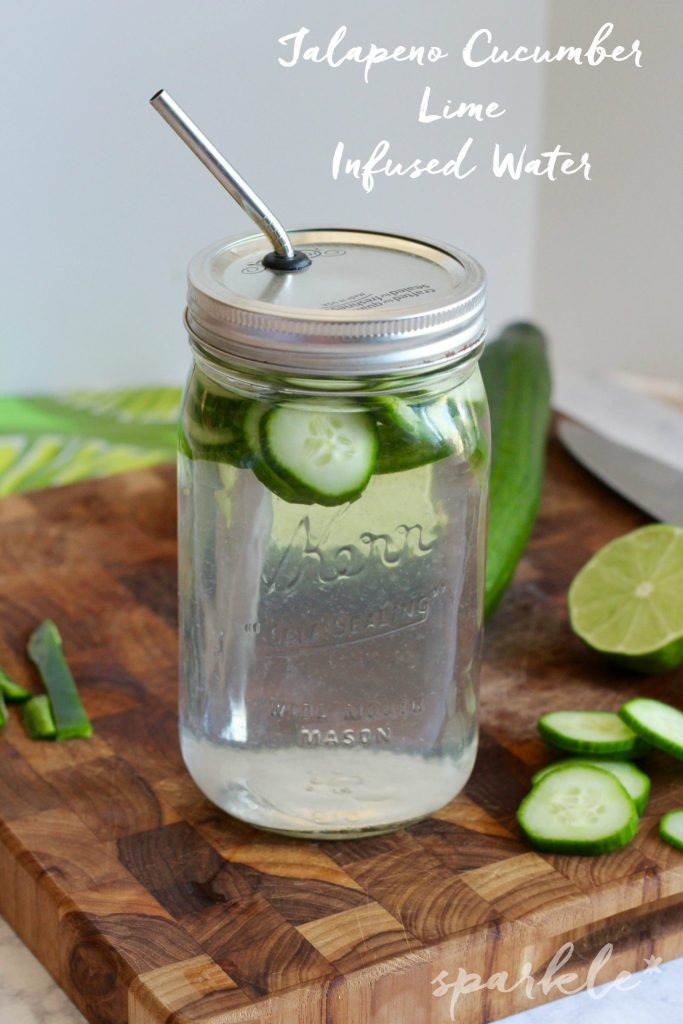 Jalapeno Cucumber Lime Infused Water... I know what you're thinking, why on earth would I put jalapeno in my water? But it's good, trust me. It gives the water a little kick, along with the cucumber lime flavor.