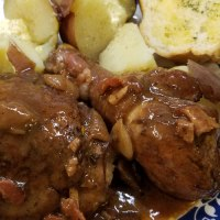 Coq Au Vin - Chicken in Red Wine with Mushrooms Onions and Bacon