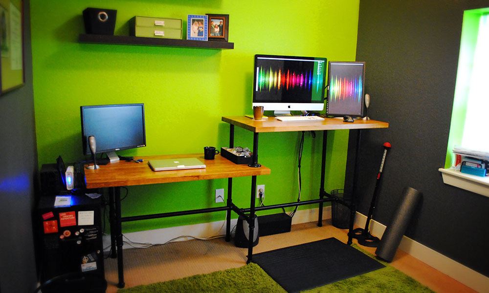 Adjustable Height Desk Ikea Sitting Standing Steel Pipe For Design Ideas