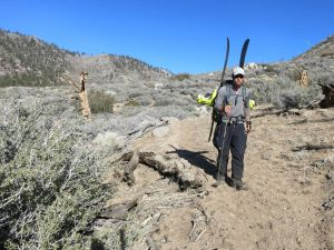 Shawn Forry in a dry section of the Pacific Crest National Scenic Trail. Photo courtesy of Forry and Lichter.