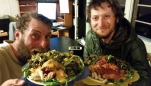 Shawn Forry and Justin Lichter enjoying dinner in Warner Springs during their winter traverse of the Pacific Crest Trail, 2015.