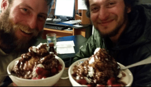 Shawn Forry and Justin Lichter with their just desserts after a strenuous day's hike. Photo courtesy Forry and Lichter.