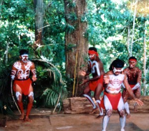 An Aboriginal dance group in Kuranda Rainforest, Queensland, Australia. Photo: Julie Pendray.