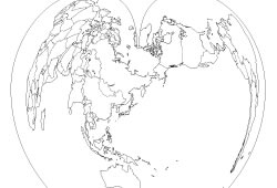 """Blank map of the World map """"Pacific Ocean centerd"""""""