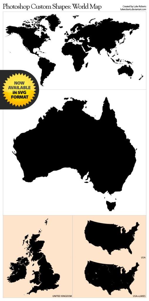 Photoshop Shapes: World Map